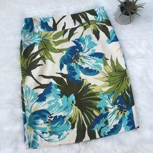 Ann Taylor LOFT Tropical Print Silk Pencil Skirt 4